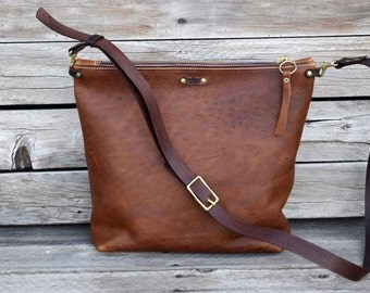 Tan Leather Crossbody Bag / Simple Bucket Purse / Handmade Leather Shoulder Bag / Rustic leather Zipper Bag /f eralempire.etsy.com