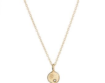 14K yellow gold & diamond pebble necklace