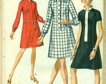 Simplicity 7899 Zip Front Mod Stand-up Collar Dress Bust 43 Size 20 1/2 VINTAGE 1960s ©1968