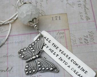 Stella Blue Grateful Dead lyrics hippie necklace butterfly jewelry quartz bead deadstock