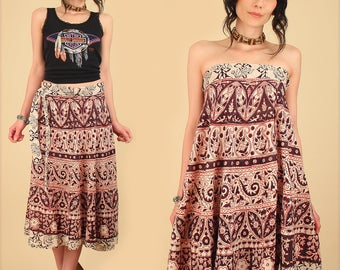 ViNtAgE 70's Indian Wrap Skirt Dress Print India Cotton Artisan Floral Festival Free Size o/s S M L