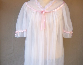 "50s 60s dressing gown / sheer white peignoIr / PINK satin trim, rosettes, womens medium, 44"" bust"