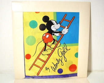 Rare 80s NOS Wendy Gell Disney Art Scarf, Disney Collectible Scarves, Silk Disney Scarf, Designer Mickey Mouse Scarf, Mickey & Minnie Scarf
