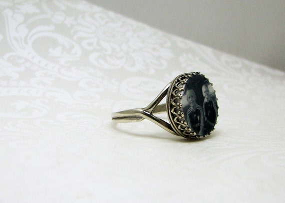 Antique Sterling Silver Adjustable Photo Ring - Classic Crown Setting - CRi-A