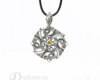Solar mandala with citrine - carved silver pendant, limited collection
