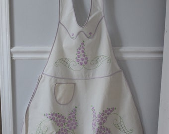 Full Apron White with Purple and Green Embroidery Shabby Style Kitchen Decor