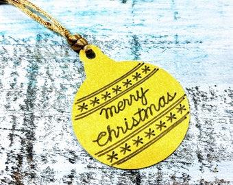 Gift tags, Christmas Gift tags, Merry Christmas gift tag, Ornament Gift Tag, Gold Gift Tag, Set of 10 gift tags, Christmas tag set