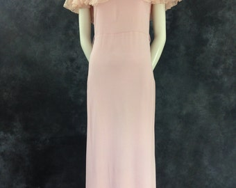 Vintage 1930's pink rayon off the shoulder dress small XS