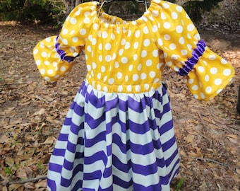 Mustard and Purple Chevron and polkadots! Size 18-24 months 3/4 sleeves Great fall colors!