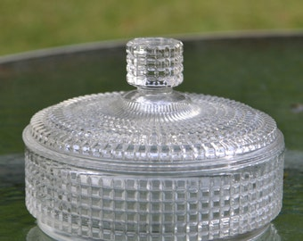Vintage Pressed Glass Covered Dish
