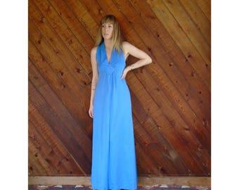 Blue Sleeveless Empire Waist Maxi Dress - Vintage 70s - XS/S Petite