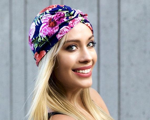Turban Hat Women Stretch Chemo Cap Hawaiian Floral Tichel Hair Wrap Packable Turban Fall Fashion Hair Accessory Scarf Head Wrap Chemo Hat