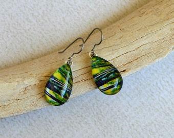 Green, Black and Yellow Earrings- Glass Titanium Earrings- Teardrop Dangle Earrings- Made with Upcycled Paper and Glass- Titanium Earrings