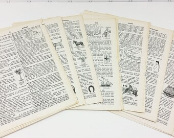 Vintage Childrens Dictionary Pages, A to Z Assortment 50 Pages Elementary School Junior Dictionary