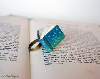 The Little Prince blue green miniature tiny Book Ring with a book quote