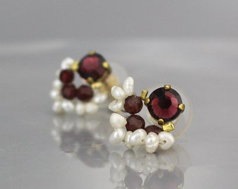 Pearl Garnet Stud Earrings, Garnet Studs, Pearl Stud Earrings, Garnet Earrings, Fan Earrings, Pearl Studs, January Birthstone Earrings
