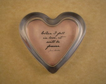 Jane Austen Fall In Love Quote Glass Heart Paperweight Wedding Anniversary Gift