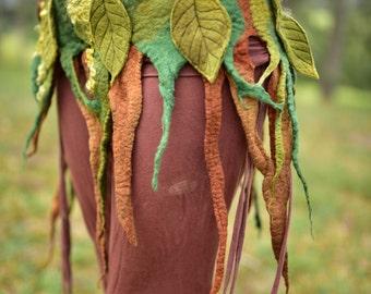 Felt Tree Roots Belt-Goddess Nymph Forest Skirt-Pixie Queen Costume-Leaves And Vines Belt-Burning Man-Festival Belt-leaf shawl-Leaf BeltOOAK