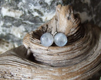 Rainbow Moonstone Blue Tint 8mm Stud Earrings Earings Titanium Post and Clutch Hypo Allergenic Handmade in Newfoundland Icy Cool