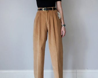 80s camel corduroy high waist pleated pants (xs - s)