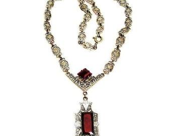 Carnelian Glass Silver Filigree Pendant Necklace