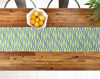 Geometric Table Runner // Midcentury Modern Geo // Table Linens // Home Decor // Dayo Splash Design // Aqua Grey Yellow // Table Decoration