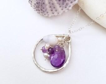 Hawaii shell necklace - beachy jewelry by Tidepools, shell jewelry, amethyst and purple shell necklace, hawaiian jewelry, beach wedding