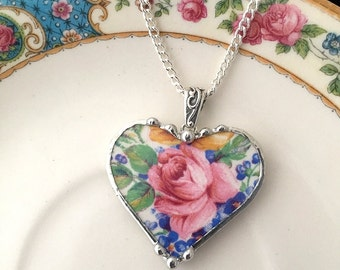 Broken china jewelry -  heart pendant necklace - broken china jewelry antique Rosalynde chintz pink rose blue forget me nots