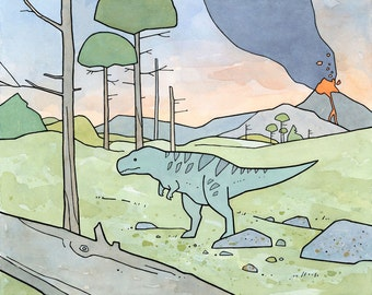 Tyrannosaurus Rex childrens illustration, kids room dinosaur art print