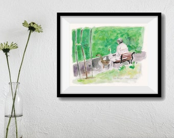 art print Feeding the Geese, watercolor print, painting, women in the park print, ducks art print, green, landscape art, Home & Living