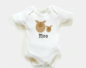 Organic Cow Bodysuit :  Baby Shower Gift, Baby Boy