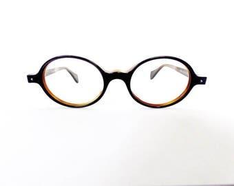 90s Face a Face Oval Eyeglasses Frames Unisex Vintage 1990's Black w Orange Inside Model Bonie Made in France #M872 (EB)