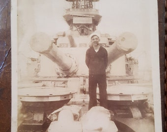Vintage Photograph Sailor w/ Pipe aboard Naval Ship identified D.L. Swartzback
