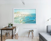 "Large Scale Print Living Room Decor // Oversized Beach Photography // Navy Blue, Blue, Light Blue Wall Art // Large Beach Print ""Peeps Dips"""