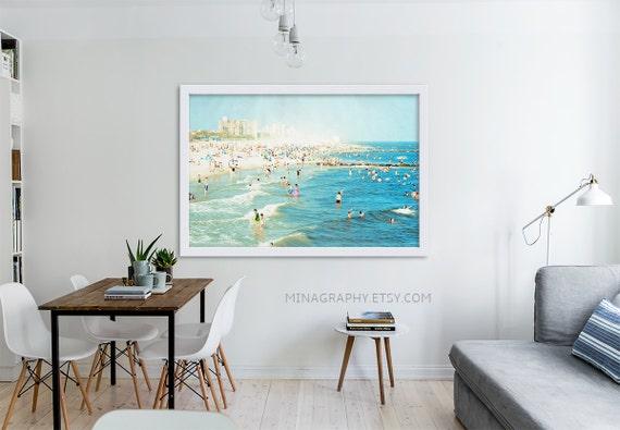 "Large Scale Print Living Room Decor // Oversized Beach Photography // Navy Blue, Blue, Light Blue Wall Art // Large Beach Print ""Peeps Dips"""