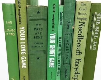 Vintage Set of 8 Books // Green Books // Shelf Styling // Shelf Decor