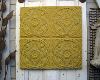 Tin Ceiling Tile.  Framed Oklahoma architectural salvage. Gold Mustard Yellow. Antique pressed tin tile. Metal wall decor.