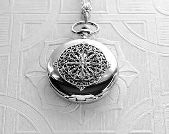 Pocket Watch Locket Necklace Set Silver Art Nouveau Filigree Mandala Victorian Watch Pendant Bride Wedding Woman's Anniversary Birthday