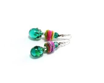 Colorful Fiber Bead Earrings. Hand Wrapped Fiber Beads. Small Dangle Earrings. Gypsy Boho Earrings. Artisan Headpins. Glass Bead Jewelry.