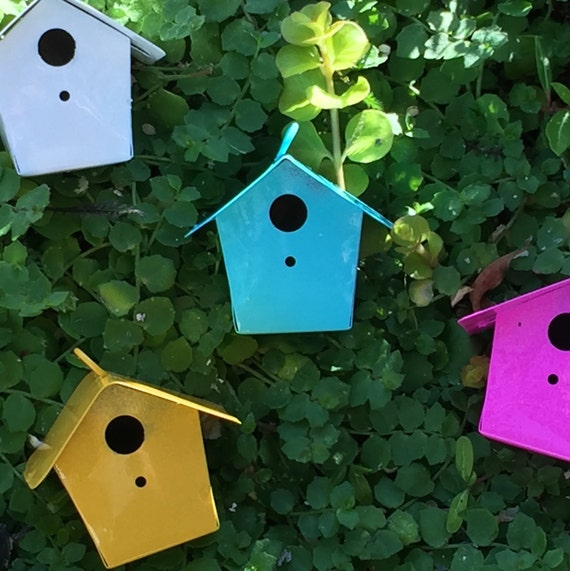 Miniature Yellow Metal Birdhouse, Fairy Garden Accessory, Miniature Gardening, Home and Garden Decor, Topper, Crafting