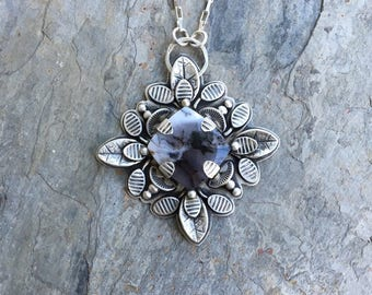 Australian Dendritic Opal and Fine Silver Necklace. Designer Jewelry for Charity. NC117