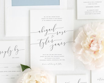 Romantic Calligraphy Wedding Invitations - Sample