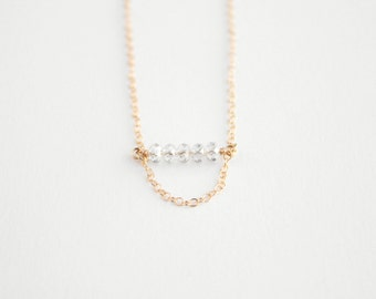 Beaded Bar Necklace - 14k Gold Filled or Sterling Silver - Elle