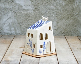 blue and white house with two birds/small house candle holder/handmade ceramic house/original home decor