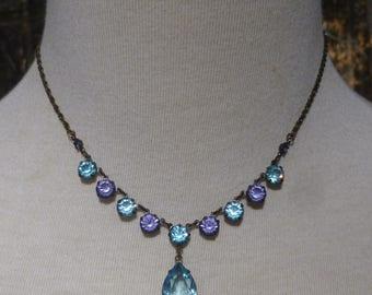 Vintage Aqua And Tanzanite Crystal Drop Adjustable Choker Necklace By 1928