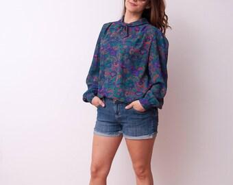 Vintage Floral Print Blouse - Long Sleeve Button Down Blouse - Vtg Flower Pattern Top - Size Medium