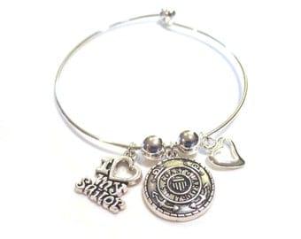 Coast Guard Bracelet, Silver Bangle, Charm Bracelet, I Love My Sailor, Heart Charm, U.S. Coast Guard, Mom Gift, Coastie Wife Bracelet