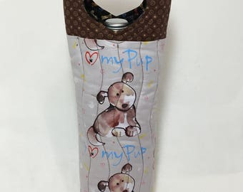 Love My Pup Wine Tote Bag Wine Bag Dog Rescue Pet Loss  New Puppy Wine Gift Bag