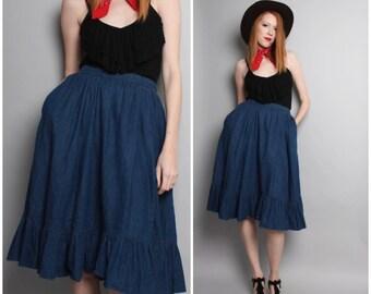 Vintage Western Denim Skirt / 1970's Country Jean Skirt / Ruffle Full Skirt / Medium