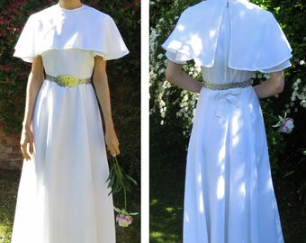 White wedding dress...cape capelet...1960's/1970's...monastic style...long A-line...bow back...XS-S...Handmade vintage...Valentino style